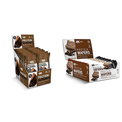 New! OPTIMUM NUTRITION Protein Snacks Sweet Variety Pack: Protein Almonds (12 Count) & Protein Wafers (9 Count), Chocolate Flavor, Low Sugar, On-The-Go Dessert