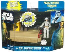 Star Wars Clone Wars 2011 Exclusive Vehicle Action Figure Pack Rebel Transport Speeder with Rebel Ground Crew ()