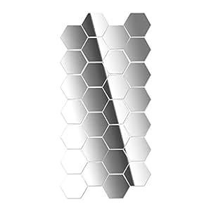Amazon.com: BUYITNOW Wall Sticker Hexagonal 3D Mirror DIY ...