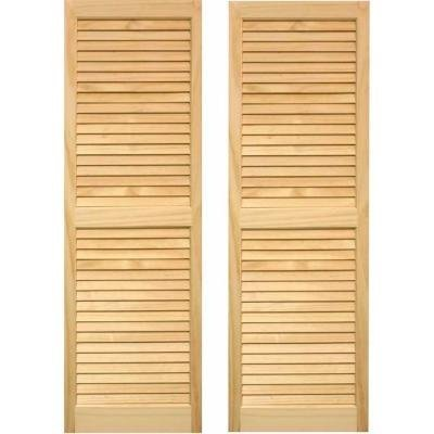 LTL Home Products SHL63 Exterior Window Louvered Shutters, 15'' x 63''