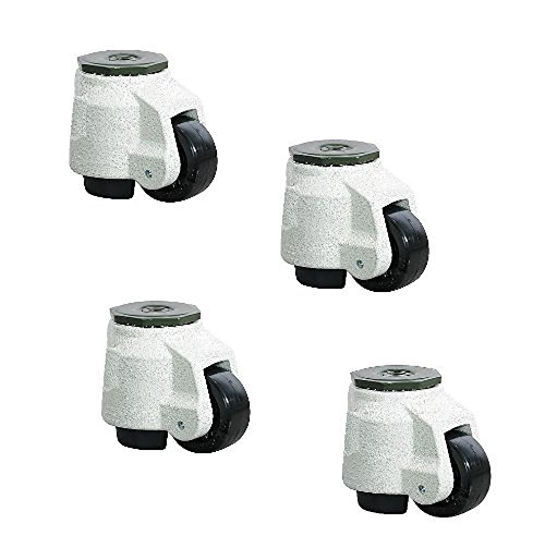 Set of 4 Swivel Leveling Plate Casters with 2'' Hard Resin Wheel and Retractable by Trio Pines