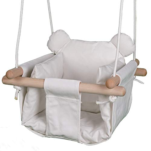 Jozeit Canvas Hanging Swing Seat for Baby Kids Toddler Infant - with Removable Cushion - Wooden Frame - CPST Certificated - Indoor and Outdoor Hammock, Tree Swings or Backyard Outside Chair Set - Bear