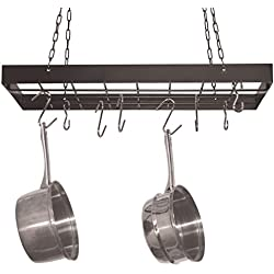 Square Pot Rack with Chrome Chains and Hooks, Black