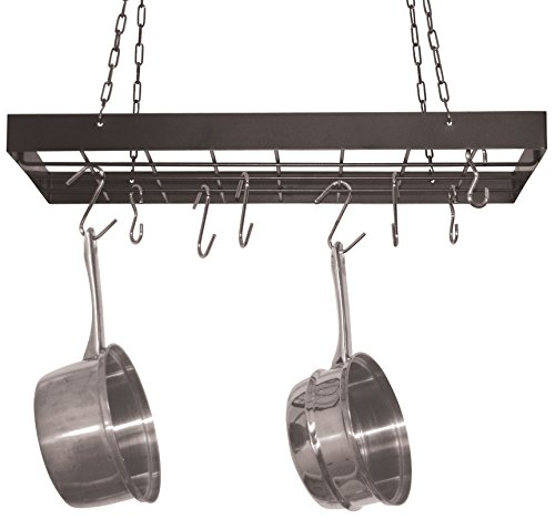Rectangular Ceiling Kitchen Pot Rack (Square Pot Rack with Chrome Chains and Hooks,)