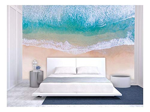 Large Wall Mural Clear Water and White Bubbles on The Tropical Beach Vinyl Wallpaper Removable Wall Decor