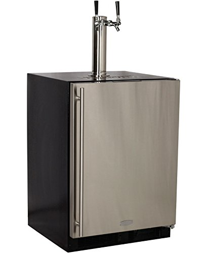 Marvel Built-In Kegerator with X-CLUSIVE Premium 2 Faucet Homebrew Keg Tapping Kit - Black/Stainless