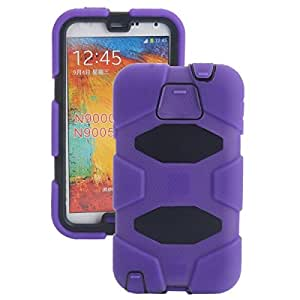 4-in-1 PC Silicone Protective Case with Stand and Touch Screen Protector for Samsung Galaxy Note3 Purple