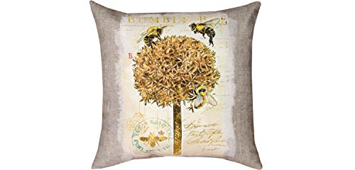 Manual Woodworkers & Weavers Indoor/Outdoor Throw Pillow,  Natural Life Bumble Bee, 18
