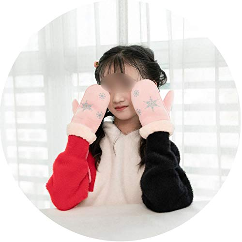 Winter Thick Snowflake Mittens Cotton Solid Color Cute Gloves Warm Girl Christmas Accessories