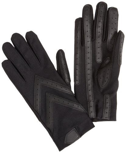 Isotoner Women's Spandex Shortie Unlined Glove,Black,One Size - Spandex Winter Gloves
