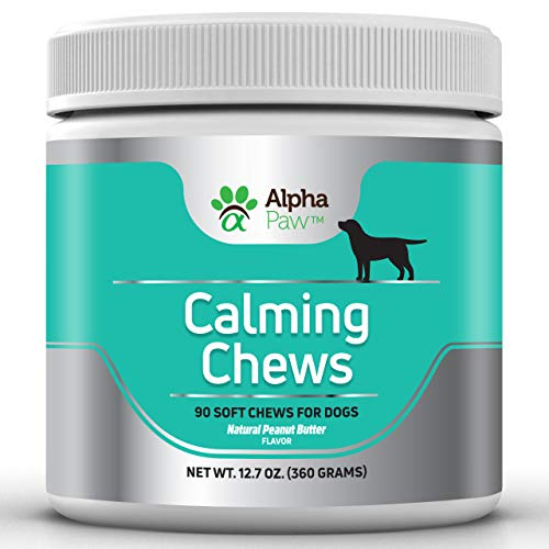 Calming Treatment - Alpha Paw Calming Treats for Dogs - Natural Dog Calming Aid and Dog Anxiety Relief with Pure Organic Hemp, Magnesium, L-Theanine, L-Tryptophan, Valerian Root, Chamomile - 90 Calming Chews for Dogs