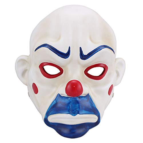 Masks Halloween Christmas Film and Bat Batman Dark Knight Halloween COS Clown Robbery Resin Dress Up & Pretend Play (Color : White, Size : 1825CM/710inch) ()