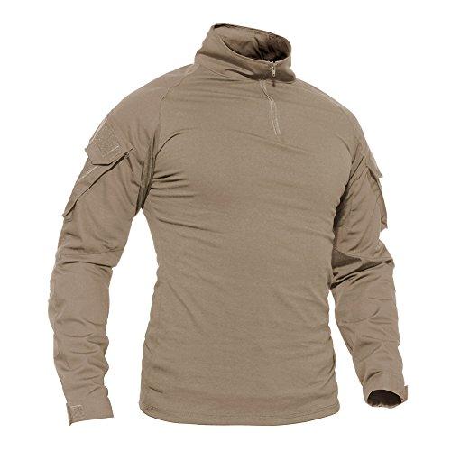 TACVASEN Mens Army Camouflage Camo 1/4 Zip Tactical Response Combat Shirt Khaki,US XL/Tag 3XL -