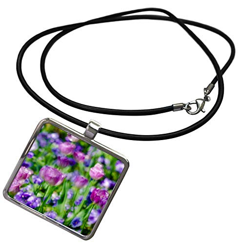 3dRose Danita Delimont - Flowers - Tulips at Claude Monet House and Gardens, Giverny, France - Necklace with Rectangle Pendant (ncl_313126_1)