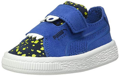 (PUMA Boys' Suede Deconstruct Velcro Sneaker, surf The Web-Peacoat-Fizzy Yellow, 8 M US Toddler)