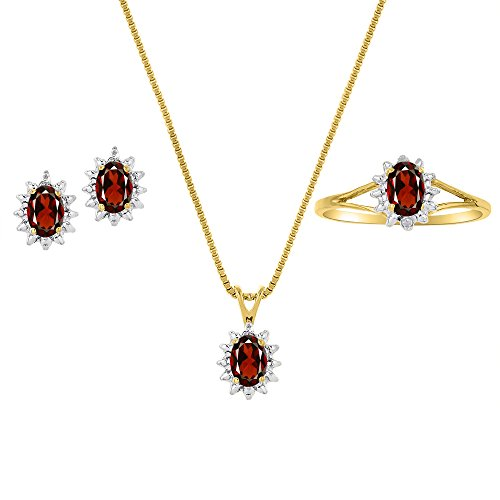 Genuine Natural Garnet & Diamond Pendant, Earrings & Ring Set in 14k Yellow Gold Plated silver with Chain and Gift Box