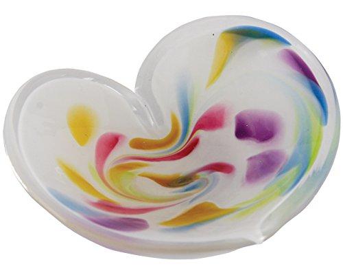 (Glass Eye Studio Affection Heart White, Mini Decorative Tray, Hand Blown Glass Accent - 4.5