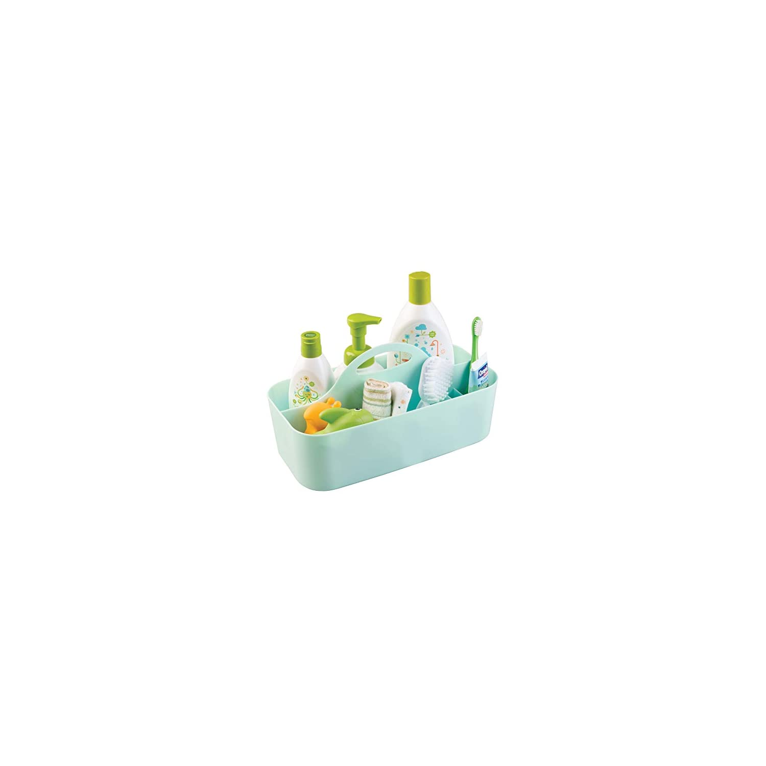 mDesign Plastic Portable Nursery Storage Organizer Caddy Tote – Divided Basket Bin with Handle – Holds Bottles, Spoons, Bibs, Pacifiers, Diapers, Wipes, Baby Lotion – BPA Free – Large – Mint Green