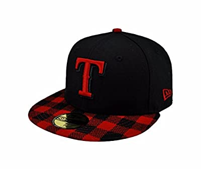 NEW ERA 59fifty Mlb Texas Rangers Hat Premium Fitted Black with Red Cap