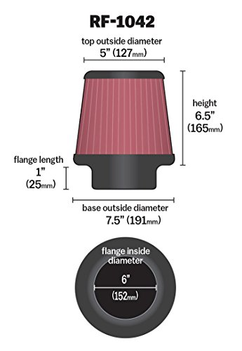 K&N RF-1042 Universal Clamp-On Air Filter: Round Tapered; 6 in (152 mm) Flange ID; 6.5 in (165 mm) Height; 7.5 in (191 mm) Base; 5 in (127 mm) Top