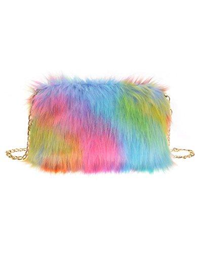 Glamorous Chain Ladies Soft Fluffy Rainbow Clutch Bag Purse Women's Fur Runway Feather Faux Fashion's Designer gqngrx