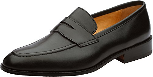 3DM Lifestyle Handcrafted Genuine Leather Mens Penny Slip-On Leather Lined Loafer Black