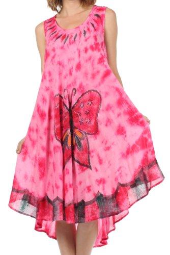 Sakkas 217 Tie Dye Butterfly Tank Sheath Caftan Mid Length Cotton Dress - Pink / One Size (Butterfly Tie Dye)