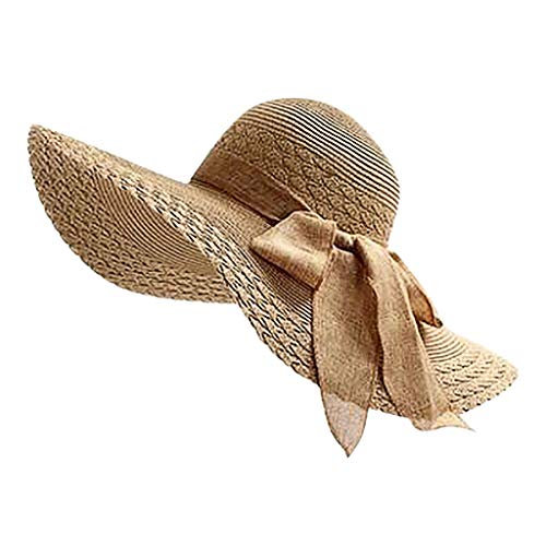 NRUTUP Women Colorful Big Brim Straw Bow Hat Sun Floppy Wide Brim Hats Beach Cap Khaki,Free ()