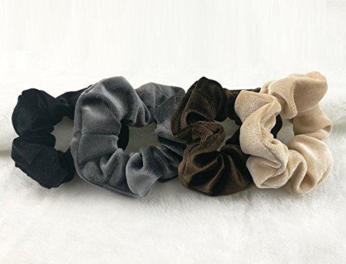 Velvet Hair Scrunchies for Women Girls 12 PCS Neutral Bobbles Soft Feel Scrunchy Hair Ties Hair Elastic Bands for Thick Hair (neutral)