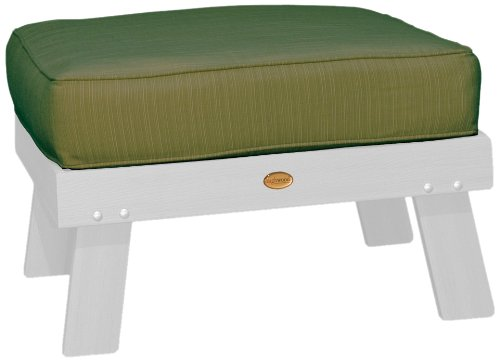 Highwood Pocono Deep Seating Ottoman, White with Sunbrella Dupione Palm Cushions
