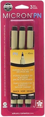 SAKURA Black Pigma Micron PN Pens .45mm 3/Pkg