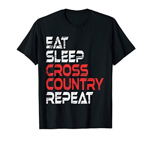 (Funny EAT SLEEP CROSS COUNTRY REPEAT T-Shirt Runner)