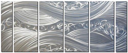 3 Large Wall Accent - Handcrafted Abstract Metal Wall Art with Soft Color, Large Scale Decor in Silver Line Design, 3D Artwork for Indoor Outdoor Wall Decorations, 6-Panels Metal Art Measure 24
