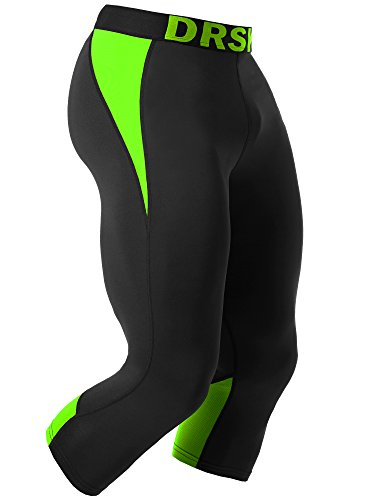 Tight 3//4 Compression Pants Base Layer Running Pants Men DRSKIN 3XL, BB807