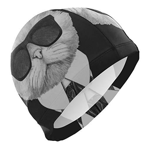 (Loveful Personalized Cool Cat Doctor Swim Cap Mens Spandex Swimming Bathing Cap Hat Super-Sleek Design/Optimum Comfort/Skin-Friendly/for Short and Long Hair/Extra Durability)