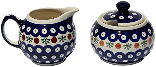 [Polish Pottery Sugar Bowl and Creamer] (Polish Sugar)