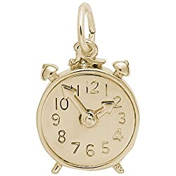 Gold Plated Alarm Clock Charm, Charms for Bracelets and Necklaces