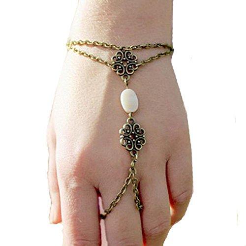- BOKOLI Fashion Hollow Carved Shells Bracelet Finger Ring Bangle Slave Chain