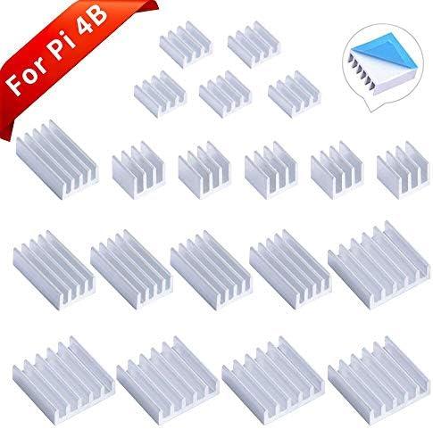 GeeekPi 20PCS Kühlkörper für Raspberry Pi 4 Modell B, Raspberry Pi Aluminium Kühlkörper mit wärmeleitendem Klebeband für Raspberry Pi 4B (Raspberry Pi Board ist Nicht im Lieferumfang enthalten)