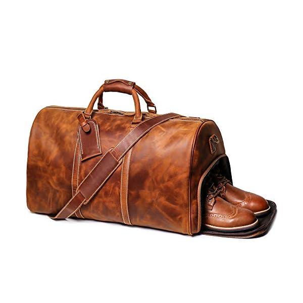"LeathFocus 24"" Overnight Leather Duffel Bag 1"