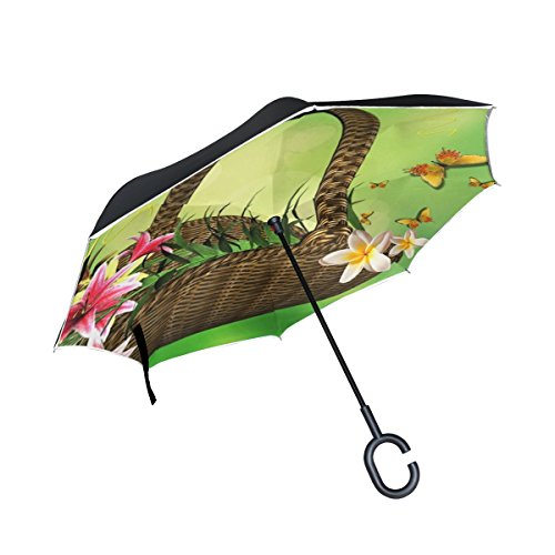 Basket Lily Arrangement (YUMOING Double Layer Inverted Basket Of Flowers Flower Arrangement Lilies Umbrellas Reverse Folding Umbrella Windproof Uv Protection Big Straight Umbrella For Car Rain Outdoor With C-shaped Handle)