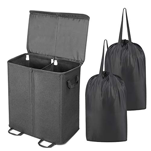 Lifewit Double Laundry Hamper with Lid and Removable Laundry Bags, Large Collapsible 2 Dividers Dirty Clothes Basket with Handles for Bedroom, Laundry Room, Closet, Bathroom, College, Black