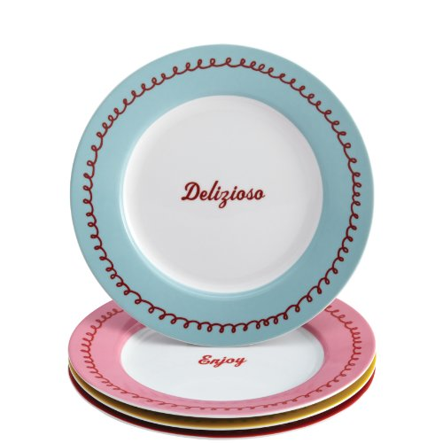Cake Boss Serveware 4-Piece Porcelain Dessert Plate Set,
