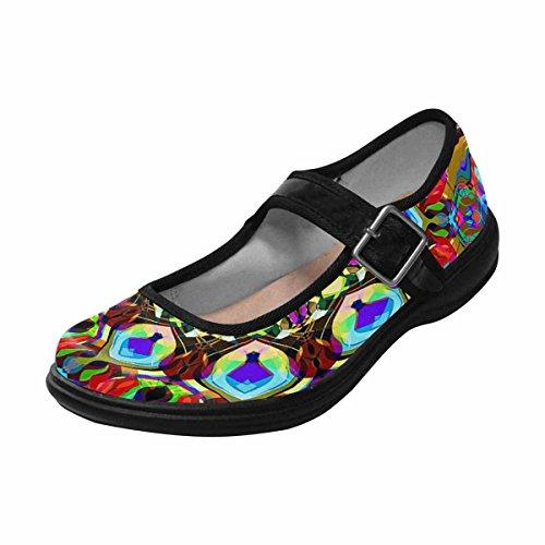 Womens Jane Flats InterestPrint Walking Mary Comfort Casual 14 Multi Shoes 1RnwUx