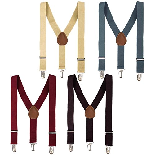- Bundle Monster 4 Clip on Suspenders for Kids Boy Girl Adjustable Straps Y Back