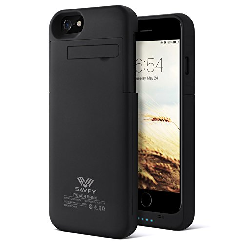 SAVFY iPhone 7 Battery Case iPhone 6 6s Charger Case 3200mAh iPhone Portable Charger Slim Rechargeable Extended Battery Charging Pack Power Bank Case with Kickstand for iPhone 7 / 6S 4.7 inch, Black