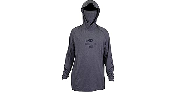 ea4dff0f6 AFTCO Barracuda Geo Cool Hooded LS Performance Shirt Large Grey Heather at  Amazon Men's Clothing store: