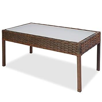 Petite table basse en résine tressée et verre dépoli ...