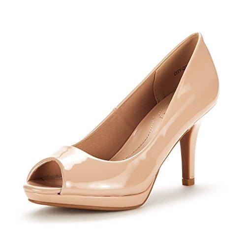 DREAM PAIRS Women's City_OT Nude PAT Fashion Stilettos Peep Toe Pumps Heels Shoes Size 8.5 B(M) ()