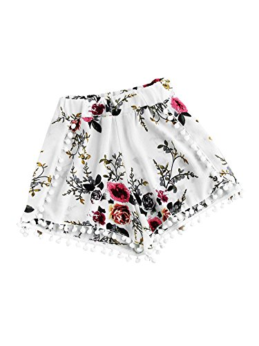 Vintage Floral Embroidery Drawstring Summer Casual Shorts (Large, White#) (Frill Shorts)